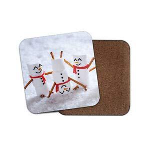 rshmallow Men Untersetzer - Schneemann Schnee Winter Kinder lustiges Scherzgeschenk ()