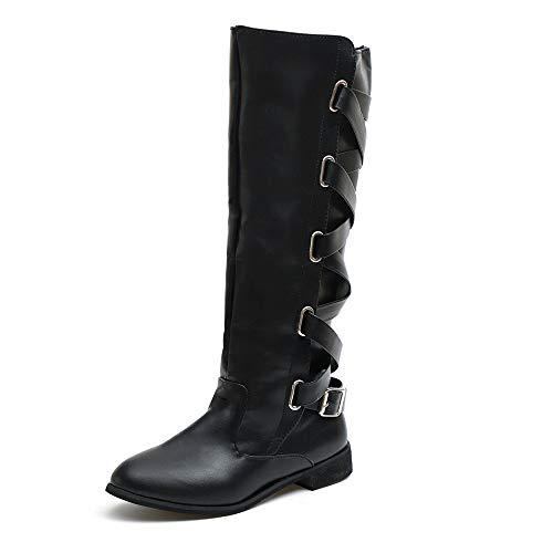 ZODOF Botas Planos Alto Top de Medieval Style para Mujer Mujer Zapatos de Mujer Hebilla Romana Rodillera Botas Altas de Vaquero Navidad Long Boots