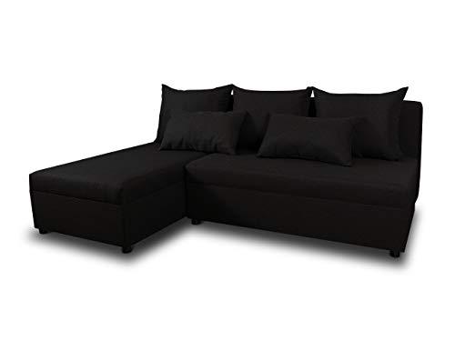 Ecksofa Pono mit Schlaffunktion - Couchgarnitur, Eckcouch, Sofa, Sofagarnitur, Bettsofa, L-Form Couch, Schlafsofa - Ottomane Universal (Schwarz (Sawana 14)) - Couchgarnitur Ottomane