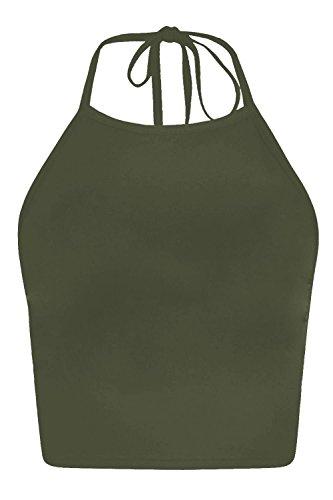 The Celebrity Fashion Da donna nuove Tie Up quadrato, con allacciatura dietro al collo Plain crop top senza maniche, maglietta a maniche corte Khaki Plain