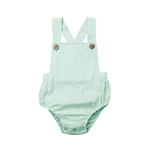 LSAltd Kleinkind Baby Kinder Mädchen Jungen Sommer Einfarbig Ärmellos Bequeme Atmungsaktive Baumwolle Sling Strampler Sunsuit Kleidung -