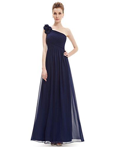 Ever Pretty Damen One Shoulder Blumen Lang Chiffonkleid Abendkleider 40 Größe Marineblau