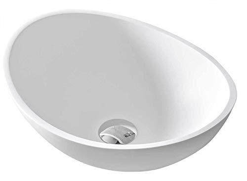 Bernstein Badshop Aufsatzwaschbecken TWA29 aus Mineralguss (Pure Acrylic) - Weiß Matt - 42x34x15cm, Ablaufgarnitur/Pop-up:Ohne Ablaufgarnitur, Zusätzl. Blende für Ablaufgarnitur:Ohne Zusätzl. Blende