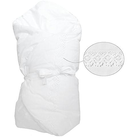 Vizaro - Arrullo / Manta / Mantita Envolvente - Acolchado, muy suave - 100% Algodón Alta Calidad - Colección Bordado Blanco - Controlado contra sustancias nocivas - Fabricado en la