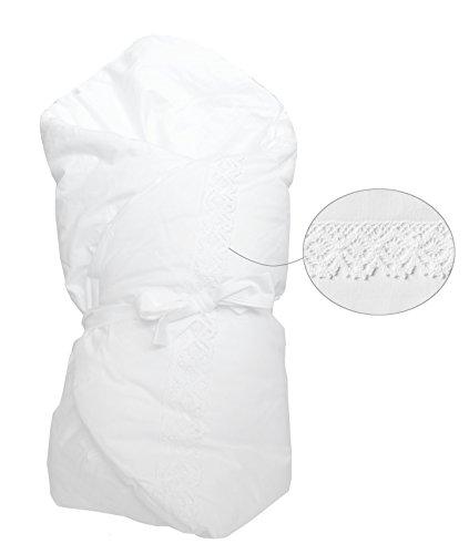 Vizaro - BABYHÖRNCHEN/Einschlagdecke/Wickeltuch/Decke/Pucksack - sehr weich - 100% REINE BAUMWOLE - Made in EU - ÖkoTex - SICHERES PRODUKT - K. Weiße Stickerei