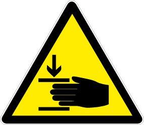Warnschild aus Folie - Warnung vor Handverletzung - Dreieckig 10 bis 40 cm Schenkellänge