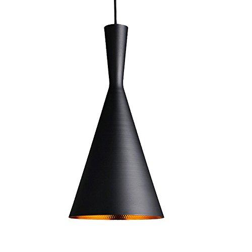 1 X E27 Lampada a Sospensione da Soffitto Vintage Luce a sospensione E27 Plafoniera Retro Paralume in Metallo (esterno nero - oro interno) (Tipo C)