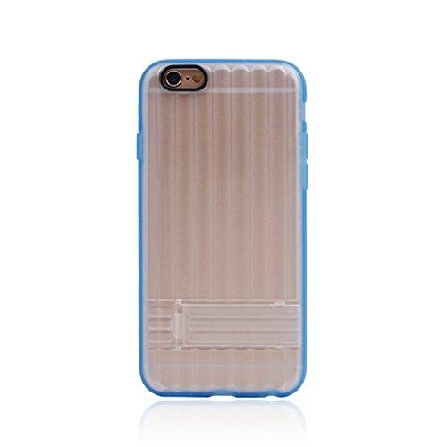 Phone case & Hülle Für IPhone 6 / 6s, vertikale Streifen-Art-transparente rückseitige Abdeckungs-schützender Fall mit Halter ( Color : Green ) Blue