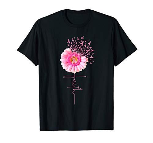 Pink Ribbon Daisy Faith - Breast Cancer T-Shirt -