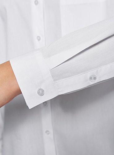 oodji Ultra Damen Lässiges Baumwoll-Hemd Weiß (1000N)