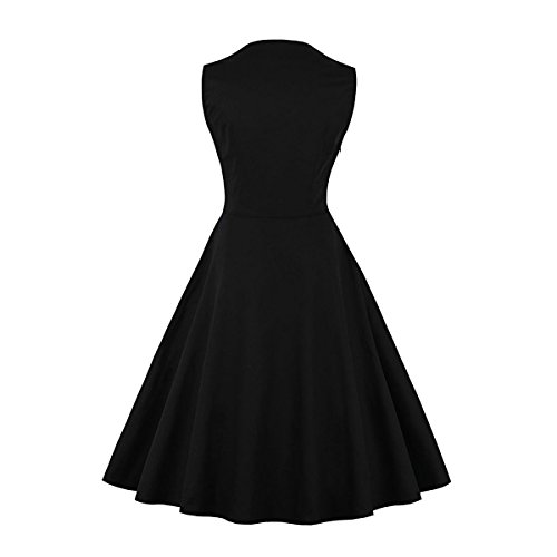 Damen 50s Retro Vintage Swing Kleider Rockabilly Kleid Partykleider Cocktailkleider Party Kurzarm Rockabilly Cocktail Abendkleider Schwarz