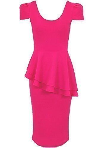 SAPHIR Damen Flügelärmel U-ausschnitt Seite Neigung Asymmetrisch Bodycon Party Schößchen Kleid Magenta