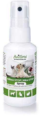 AniForte Milben-Stop Spray 50 ml für Katzen, Hunde, Haus- und Hoftiere, Natürliche Abwehr von Insekten, Parasiten und Ungeziefer
