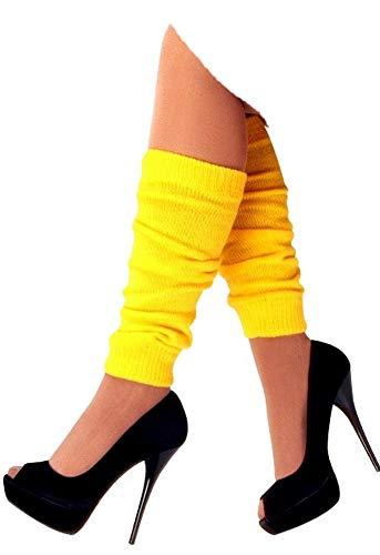 krautwear Damen Beinwärmer Stulpen Legwarmers Overknees gestrickte Strümpfe 80er Jahre 1980er Jahre, 1x Gelb, Einheitsgröße