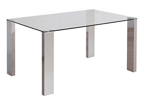 Homely - Mesa de comedor KARINA con patas metal cromado
