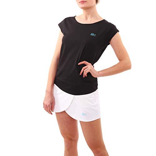 Sportkind Mädchen & Damen Tennis, Fitness, Sport Loose Fit T-Shirt, schwarz, Gr. 134