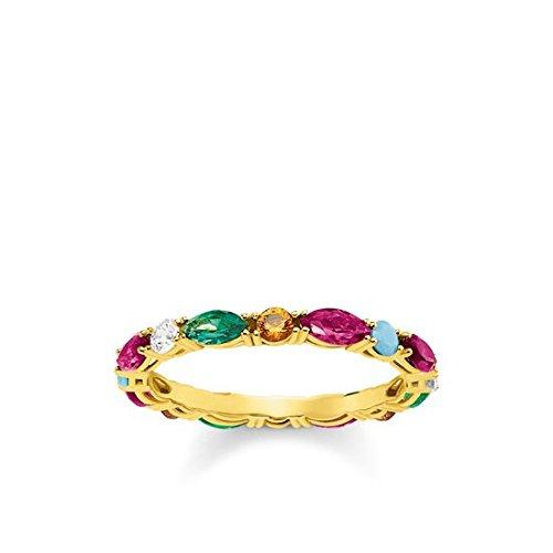 Thomas Sabo Damen-Ring Glam & Soul Farbige Steine 925 Sterling Silber gelbgold vergoldet Größe 54 TR2185-488-7-54 (Herzen Ringe Für Frauen Unter $5)