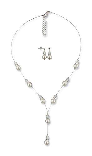 Rivelle Damen Brautschmuckset Conny Y-Kette Ohrringe Creme Schmuckset Perlen Swarovski kristall Collier Hochzeit Geschenkbox