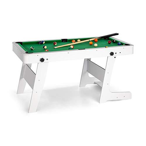 Oneconcept trickshot - tavolo da biliardo, superficie di gioco 140 x 64,5 cm, rivestimento verde, materiale mdf, 16 bocce, 2 stecche, triangolo, pieghevole, bianco