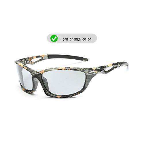 Vikimen Sportbrillen, Angeln Golfbrille,NEW Brand Photochrom Sunglasses Men Polarisiert Chameleon Discoloration Sun Glasses Outdoors Square Driving Men Accessories B1035