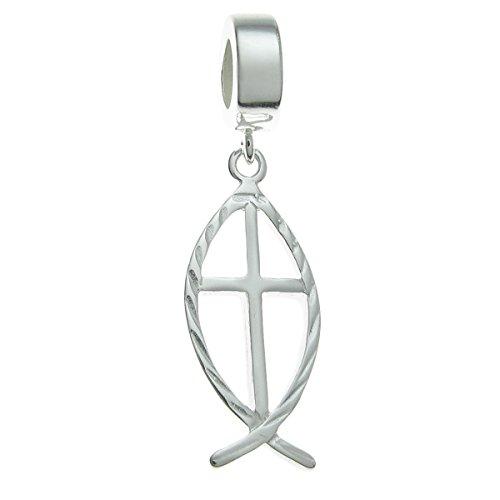 Queenberry, Armbandanhänger, 925er-Sterlingsilber, in Fischform, christliches Symbol, Charm-Anhänger, für europäische Charm-Armbänder