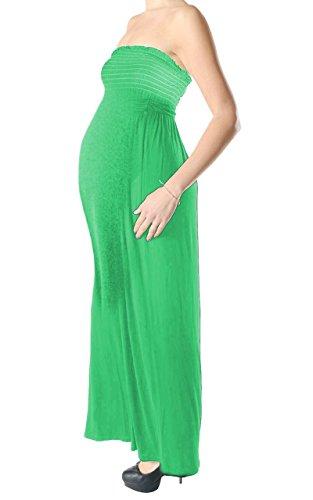 Janisramone Femmes dames Nouveau Sans manches Bandeau Boobtube Plaine Maternité Gather Sheernig Maxi Longue robe Jade Vert