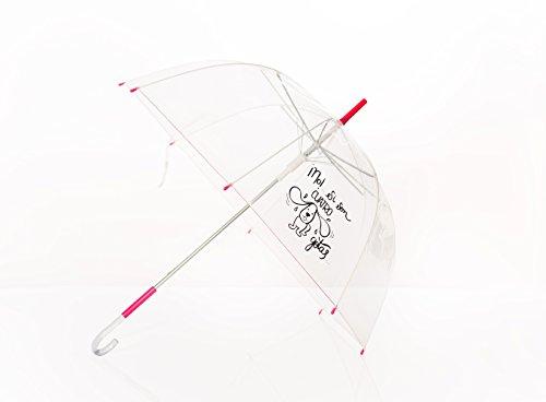 Paraguas transparente y con mensaje incluido.