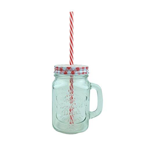Bid Buy Direct Marmeladenglas mit Griff und Strohhalm, 450ml Fassungsvermögen, mit Blechdeckel und Plastik-Strohhalm, kreatives Retro-Design mit auslaufsicherem Deckel für kalte Getränke, Cocktails oder Bowlen auf Partys, qualitativ hochwertige Gläser., glas, rot, 1Pc Clear Jar Coloured Lid