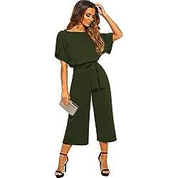 Longwu Femmes élégant Taille Haute Manche Courte Combinaison Pantalon Large lâche Barboteuses avec Ceinture Armée Verte-L