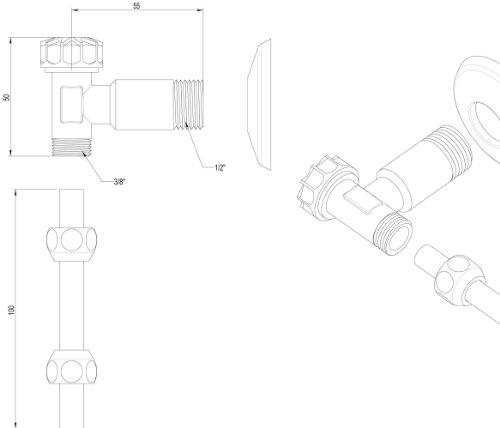 Spülkasten-Anschlussset | Wasserzulauf von hinten | Anschluss an der Rückseite | WC-Spülkasten | Toilettenspülkasten