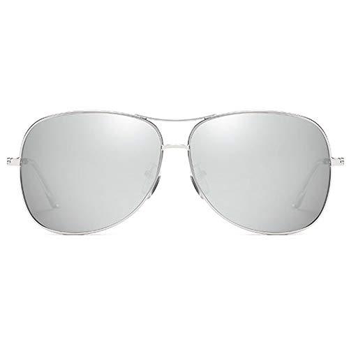 FURUDONGHAI Mode Wild New Metal Material Bunte Sonnenbrillen Besteck Rahmen Grau/Silber/Blau Objektiv Männer und Frauen mit der gleichen Polarized Drive Sonnenbrille besonders geeignet für sommerr