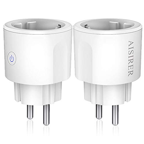 Enchufe Inteligente WiFi, AISIRER Inalámbrico Smart Mini del Zócalo Interruptor, Compatible con Android iOS IFTTT Alexa Asistente de Google Home, con Control por Voz, No se Requiere Hub (2 Pack)