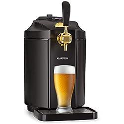 Klarstein Skal • Tireuse à bière • Réfrigérateur à bière • Pour tonneaux de 5 litres • 2-12 °C • Écran LCD • Affichage de la température • 3 cartouches de CO2 • Noir