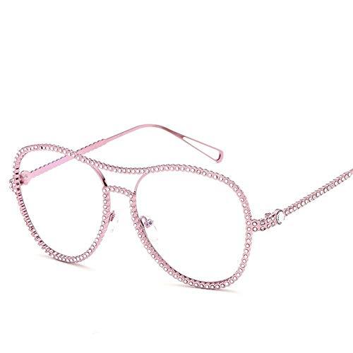 MJDABAOFA Sonnenbrillen,Neue Blink Oval Glatte Gläser Lila Rahmen Transparent Linse Mode Mit Großem Rahmen Elegance Lady Spiegel Plain Gläser Strahlenschutz Gläser Uv 400