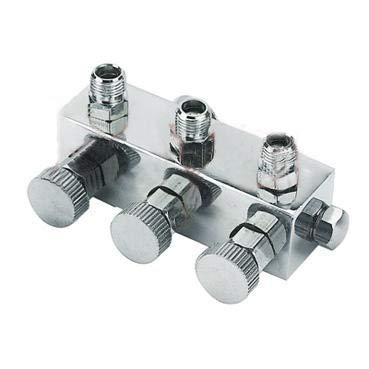 AMUR Airbrush 3-Fach Druckluftverteiler Multiswitch individuell regelbar für jeden Ausgang mit Dichtung zum Anschluss von 3 Pistolen dierekt am Airbrush-Kompressor oder Airbrush-Schlauch
