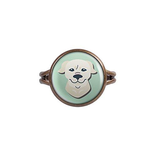 Mylery Ring mit Motiv Hund Golden Retriever bronze 14mm