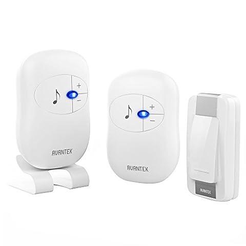 Wireless Doorbell, AVANTEK Digital Door Bell Kit, 1 Transmitter 1 Plug-in Receiver 1 Battery-Operated Receiver 300 m / 1000 ft Working Range 36 Chimes, 4-Level Volume & Blue Light,