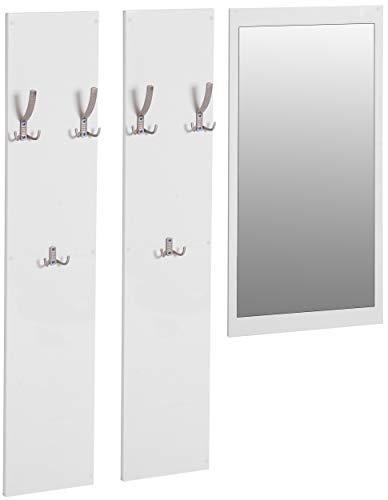 ts-ideen 3er Set Garderobe Spiegel + 2 Wandpaneele Kleiderhaken Hochglanz Weiß Weiss