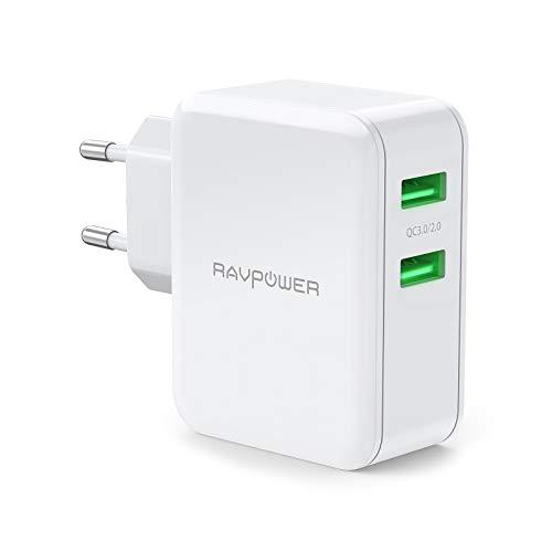 RAVPower USB Ladegerät Schnellladegerät 36W mit Quick Charge, 2 Port USB Netzteil QC 3.0 Ladegerät für Galaxy S10 S9 S8 S7 S6, Note, iphone, LG, Nexus, Huawei, HTC, MP3 usw.