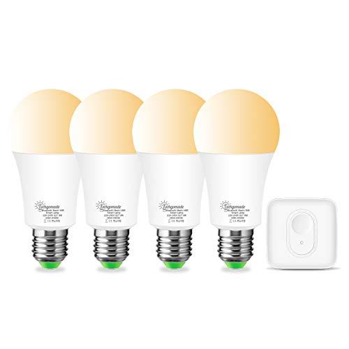 E27 Smart LED Wi-Fi+Bluetooth Lampe, Techgomade Weißes 2000K-6500K Smart LED BIrne, Kompatibel mit Alexa, Echo, Siri, Dimmbar via APP, Ersetzt 60W Glühbirne, 4-er(4 A60 Smart Lampen+1 Mesh Hub)