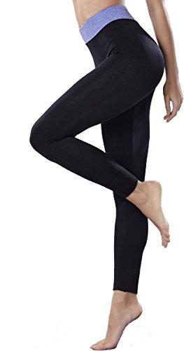 Yodensity Sport Pantalons Collants Leggings Course Fitness Pantalon Jogging Femme Noir+Bleu