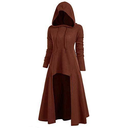 B-commerce Retro Kleid mit Kapuze für Damen Frauen Lange Ärmel Damenkostüme Vintage Mittelalter Renaissance Halloween Party Kostüm Kleider Große Größen Lange Pullover Kleidung (Mor'du Kostüm)