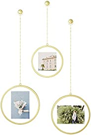 Umbra 1013425-221 Fotochain Picture Frames, Photo Display Wall Decor, Matte Brass,10""