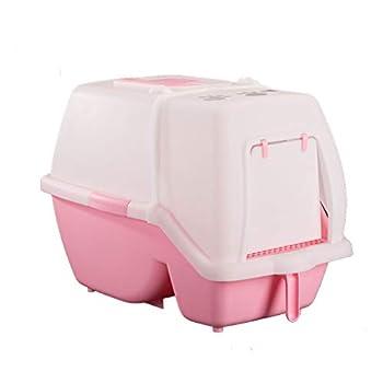 Wcx Bac à litière pour Chat avec Capuchon/Rabat/poignée Boîte à bac à litière à Capuchon Grande Toilette intérieure pour Chiot Loo fermée (Couleur : Pink)