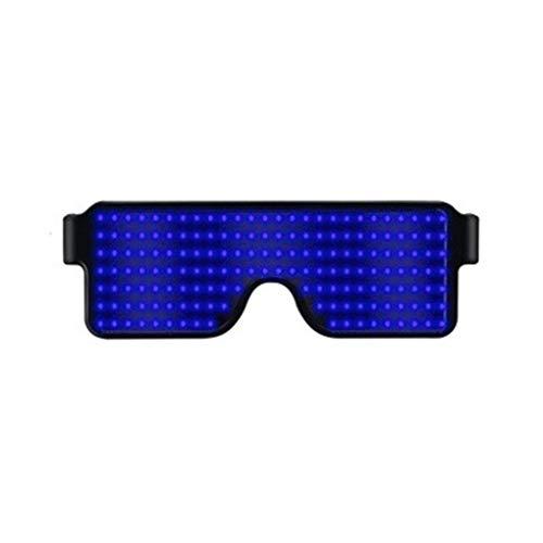 Led Mädchen Kostüm Licht - Yujum Frauen Männer Cosplay-Kostüm-Partei LED Brille Mädchen-Jungen-Club Bar Pub dekorative Glas USB-LED-Brille Party LED-Brille Gläser USB-Anschluss Wiederaufladbare,Blaues Licht,158 * 53,3 * 140 mm