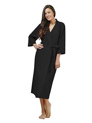 SIORO Cotton Robes Soft Kimono Robe Long Knit Bathrobe Nightwear Lightweight Loungewear Nightdress V-neck Sexy Sleepwear for women Black M
