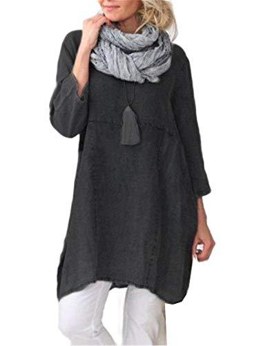 CuteRose Women Cotton 3/4 Sleeve Baggy Mid Long Pure Color Trendy Shift Dress Black L