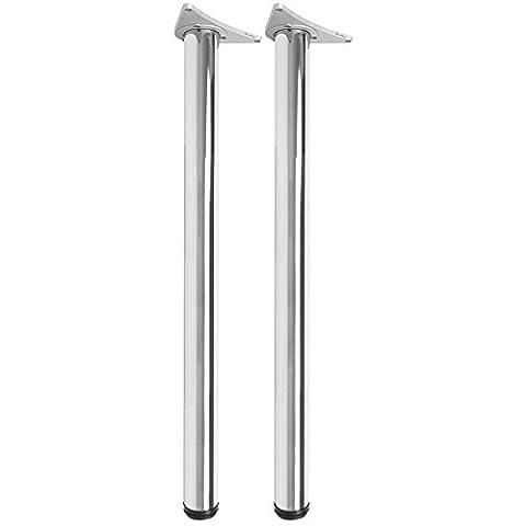 Hartleys 870-890mm Adjustable Table Legs - Chrome Mirror Finish -