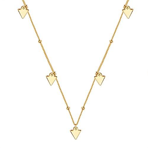 Glanzstücke München Damen-Kette mit Dreiecke Sterling Silber gelbvergoldet 42 + 5 cm - Halskette in Gelbgoldfarben mit Dreieck-Anhänger