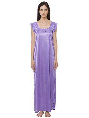 Clovia Women Satin Nighty With Lace Neckline
